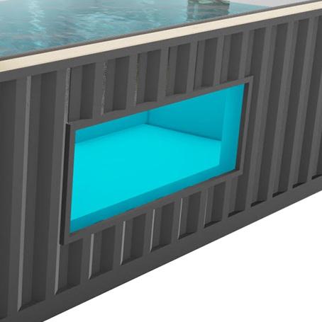 Hublot rectangulaire découpé dans la coque du container piscine