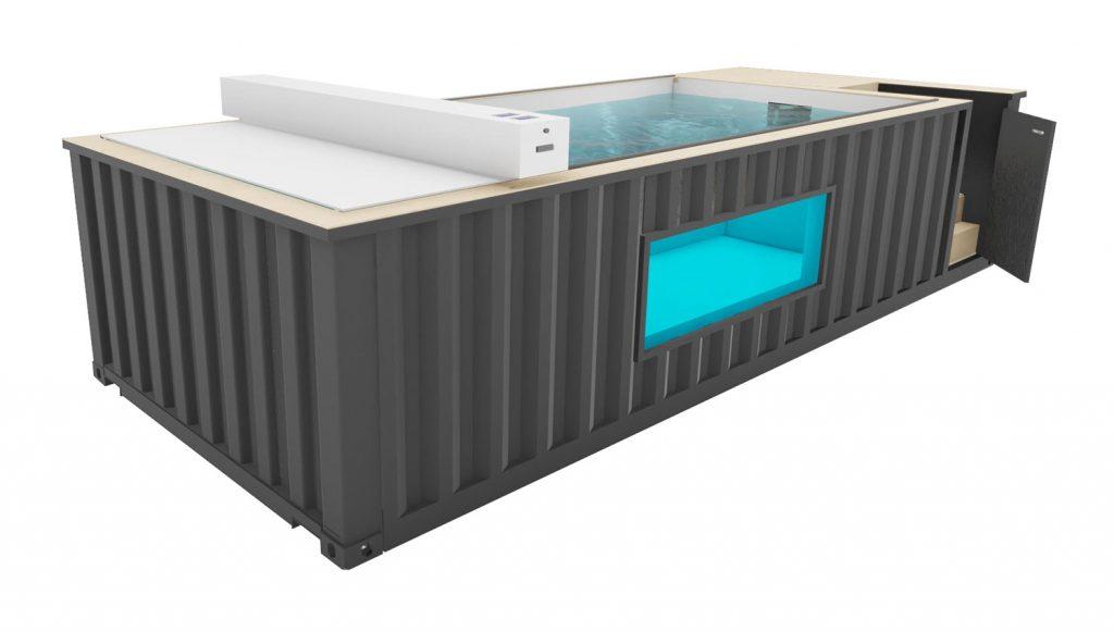 Projet 3D de container piscine avec hublot vitré et couverture