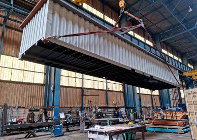 Extension du container pour conserver les 6M de longueur de bassin.